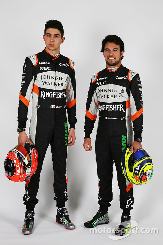 Esteban Ocon, Sahara Force India F1 Team; Sergio Perez, Sahara Force India F1