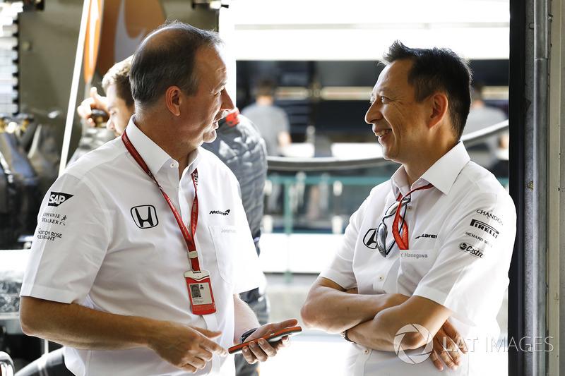 Jonathan Neale, Director, McLaren, Yusuke Hasegawa, administración oficial de Honda