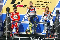 Podium: race winner Valentino Rossi, Repsol Honda Team, second place Loris Capirossi, Ducati Team, third place Nicky Hayden, Repsol Honda Team