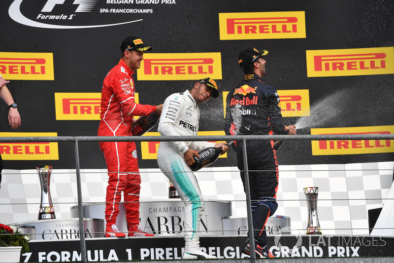 Lewis Hamilton, Mercedes AMG F1, Sebastian Vettel, Ferrari and Daniel Ricciardo, Red Bull Racing celebrate on the podium