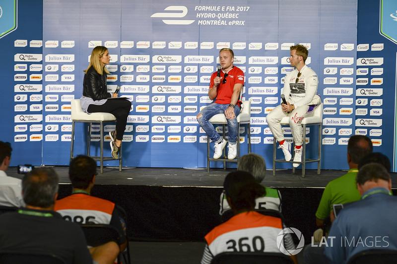 Nicki Shields, Moderatorin, Felix Rosenqvist, Mahindra Racing, Sam Bird, DS Virgin Racing