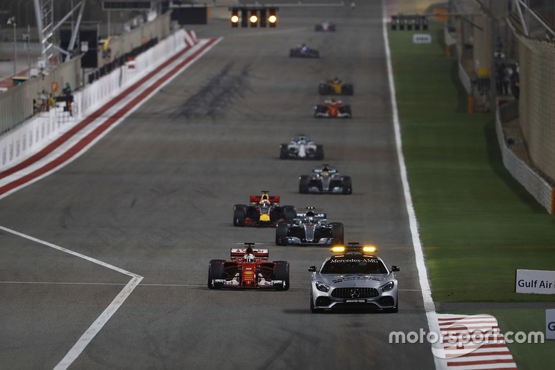The Safety Car leads Sebastian Vettel, Ferrari SF70H, Valtteri Bottas, Mercedes AMG F1 W08, Daniel Ricciardo, Red Bull Racing RB13, Lewis Hamilton, Mercedes AMG F1 W08