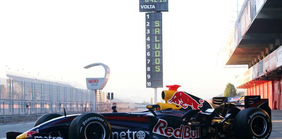 Red Bull RB3 breaks cover at Barcelona