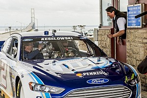 "NASCAR Cup Breaking news Keselowski drives ""Blue Deuce"" across Mackinac Bridge"