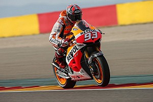 MotoGP Qualifying report Three on the bounce for pole man Marquez in Aragon