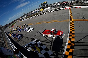 NASCAR Truck Race report Peters holds off pack to take the checkered flag at Talladega