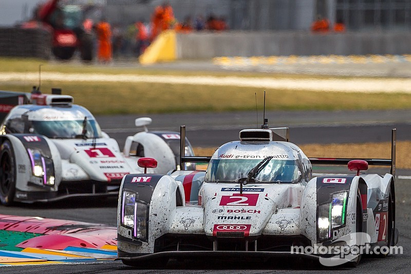 Three Audi R18 e-tron quattro cars at Le Mans