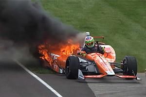 IndyCar Breaking news Simona de Silvestro unhurt as her Andretti Honda bursts into flames - video
