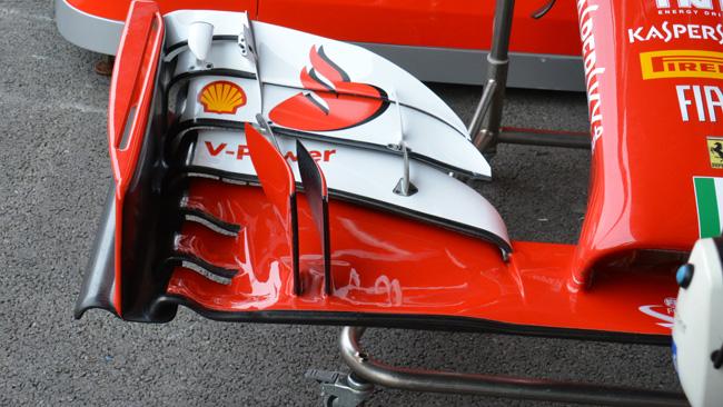 La Ferrari di Kimi senza gli upper flap dell'ala