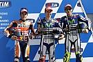 Lorenzo, Márquez y Rossi, desde la primera línea