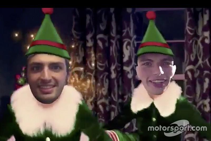 VIDEO: Verstappen y Sainz 'bailan' en festejo por la Navidad