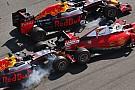 El enojo de Vettel en la radio tras el doble impacto de Kvyat contra su Ferrari