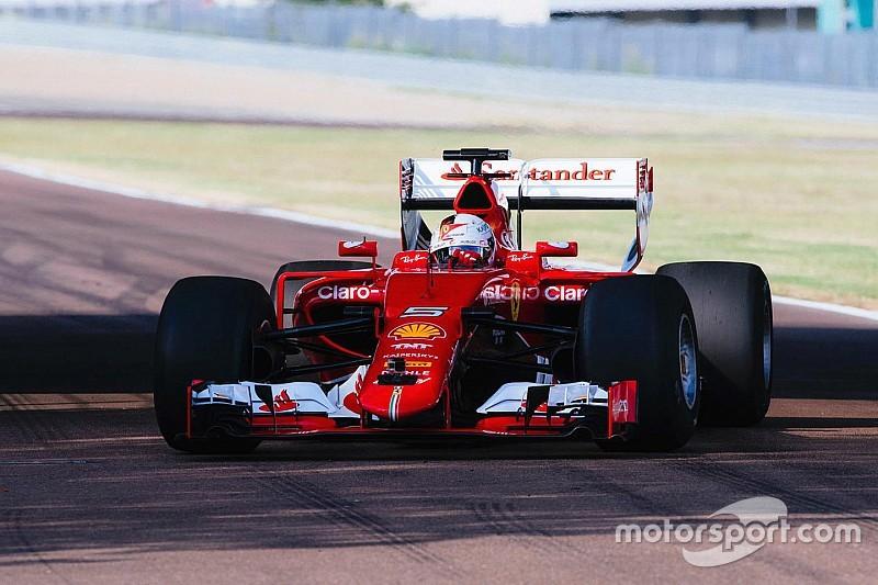 Primeras imágenes del Ferrari con los neumáticos de 2017