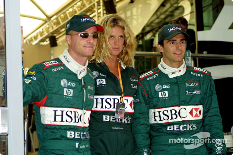 Eddie Irvine, Rachel Hunter and Pedro de la Rosa