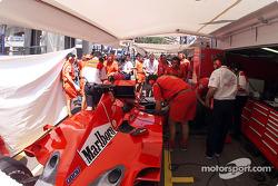 Michael Schumacher in the Ferrari 'garage': as tight as it gets