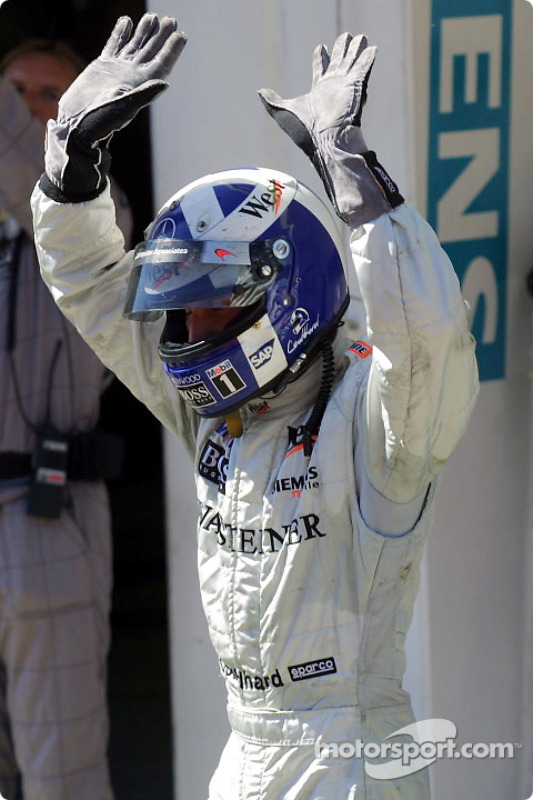 David Coulthard celebrating