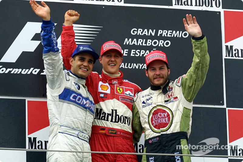 2001: 1. Michael Schumacher, 2. Juan Pablo Montoya, 3. Jacques Villeneuve
