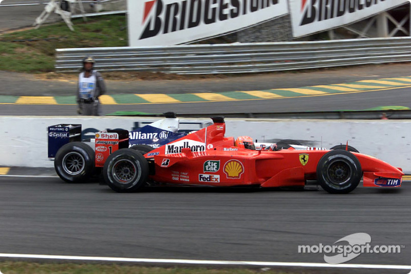 The move: Juan Pablo Montoya fighting Michael Schumacher