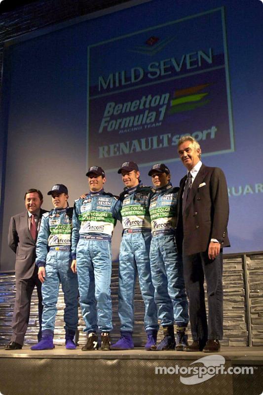 Patrick Faure, Fernando Alonso, Mark Webber, Jenson Button, Giancarlo Fisichella and Flavio Briatore