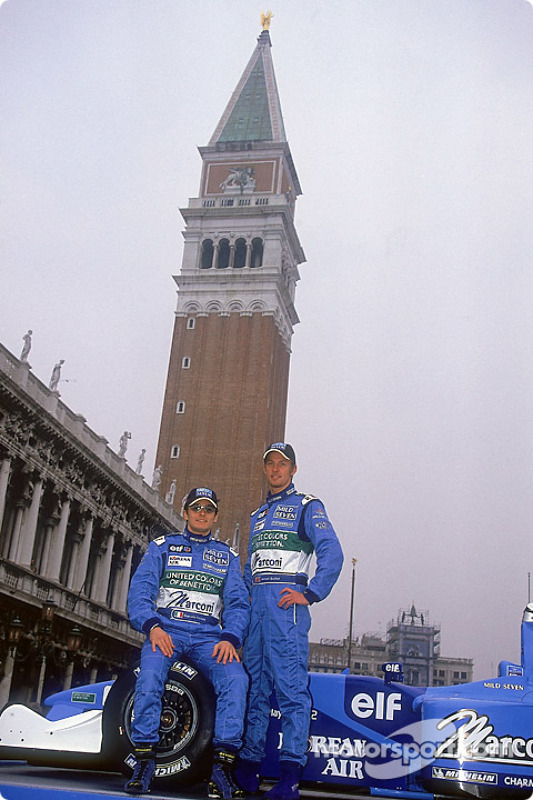 Giancarlo Fisichella et Jenson Button au lancement de la nouvelle B201