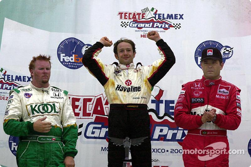 The podium: Paul Tracy, Cristiano da Matta and Gil de Ferran