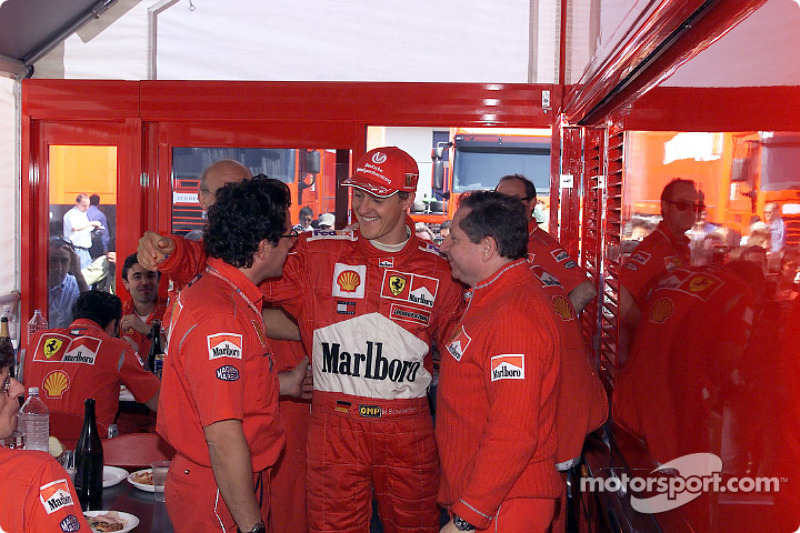 Luca Baldisseri, Michael Schumacher and Jean Todt