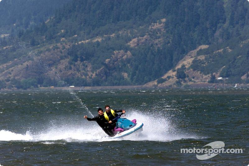 Columbia River Gorge: Patrick Carpentier and Alexandre Tagliani on a jetski