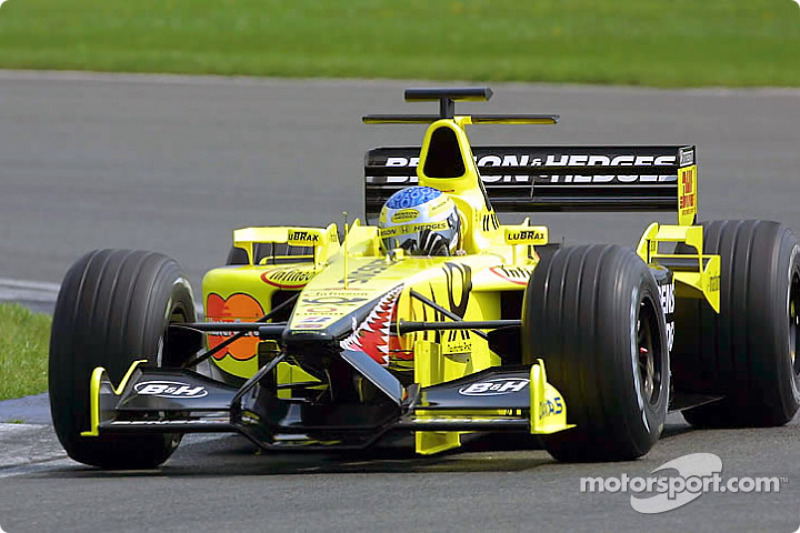 Jean Alesi drives EJ11 In car Shakedown