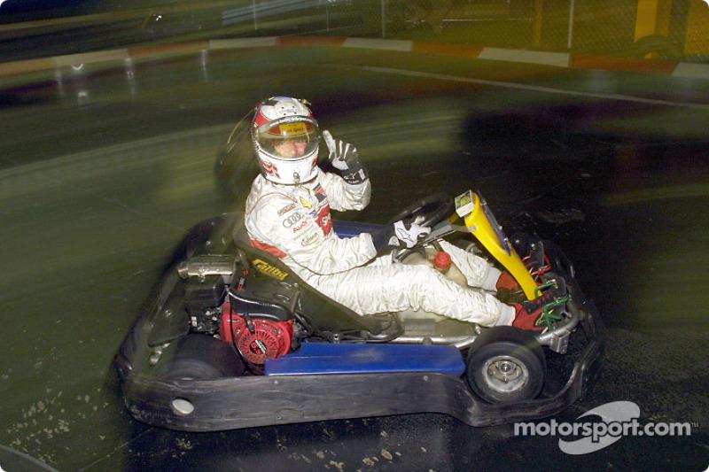 Tom Kristensen during a go-kart race