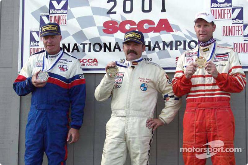 Race 10, Touring 2 podium: National Champion Brian Kelm, 2nd Rick Gilhart, 3rd Don Mills