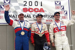 Race 13, Showroom Stock B podium: National Champion Randy Saucier, 2nd David Roush and 3rd Eric Morehouse