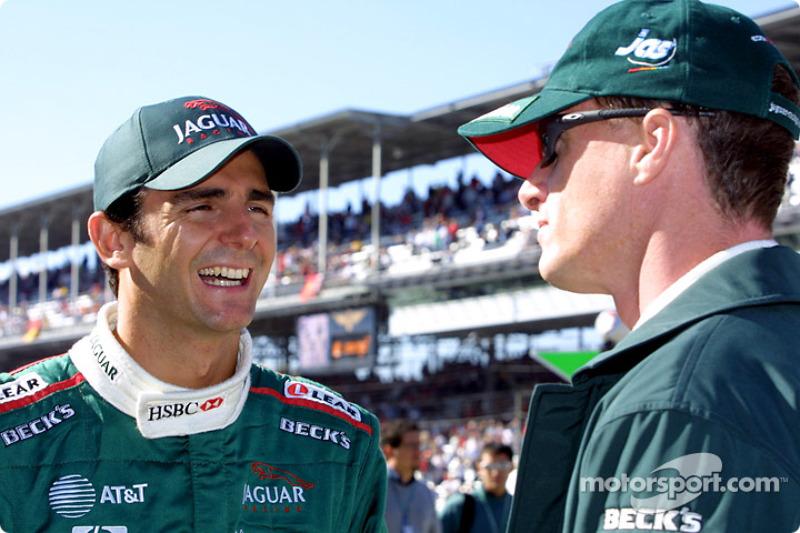 Pedro de la Rosa and Eddie Irvine before the drivers parade
