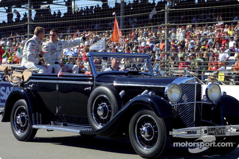 Drivers parade: Mika Hakkinen and David Coulthard
