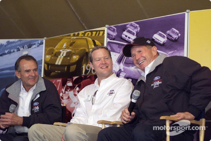 Racing greats Bob Glidden, Tom Kendall and Parnelli Jones enjoy a laugh during an interview