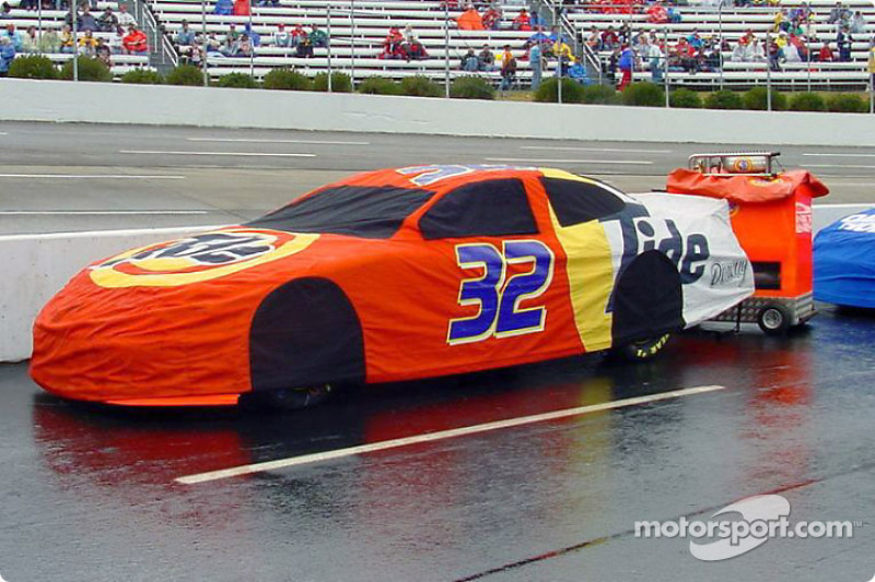 Ricky Craven's car with its rain suit