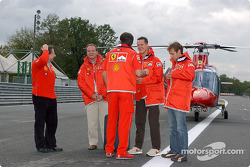 Jean Todt, Michael Schumacher, Rubens Barrichello and Luca Badoer