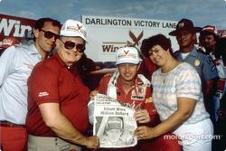 Harry Melling, Bill Elliott and Martha Elliott after Bill won the race and the Winston Million