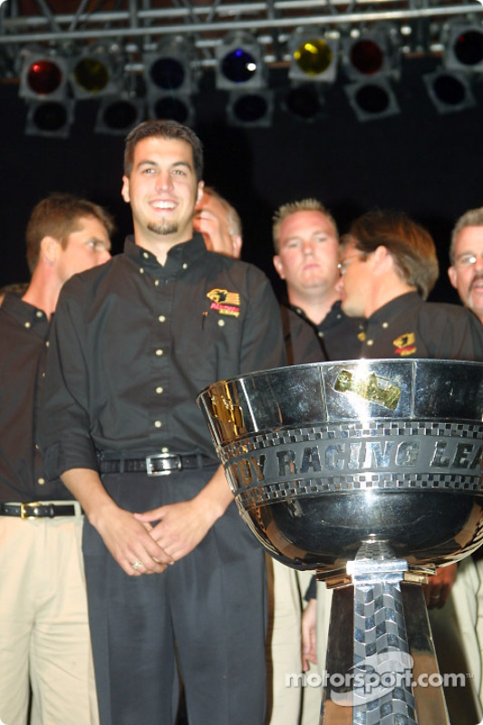 Sam Hornish Jr. stands next to the Northern Light Cup