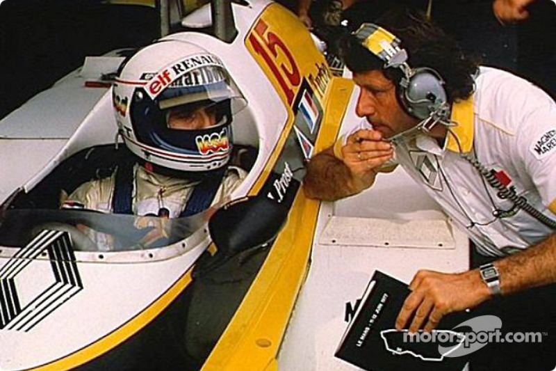 Alain Prost and Bernard Dudot during a test session