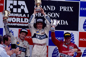 The 1989 podium: winner Thierry Boutsen with Riccardo Patrese and Andrea de Cesaris