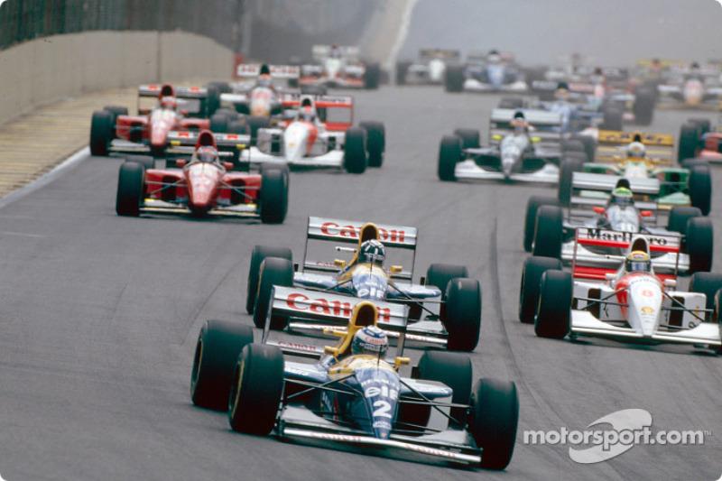 The start: Alain Prost, Damon Hill and Ayrton Senna