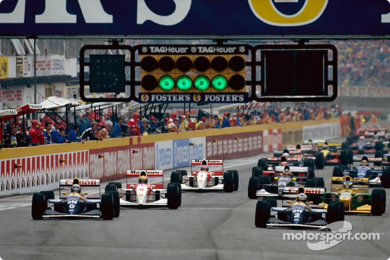 The start: Damon Hill, Alain Prost, Ayrton Senna and Michael Schumacher