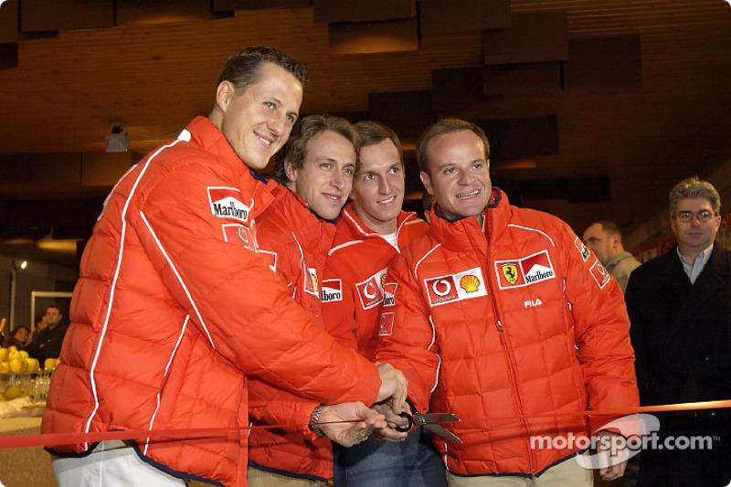 Opening ceremony: Michael Schumacher, Luca Badoer, Luciano Burti ve Rubens Barrichello