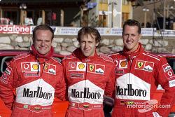 Rubens Barrichello, Luca Badoer and Michael Schumacher