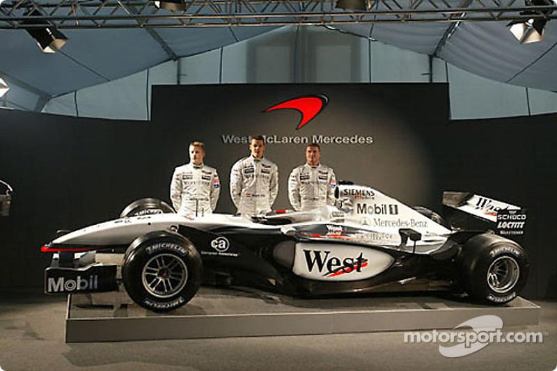 Kimi Raikkonen, Alexander Wurz and David Coulthard unveiling the new McLaren Mercedes MP4-17