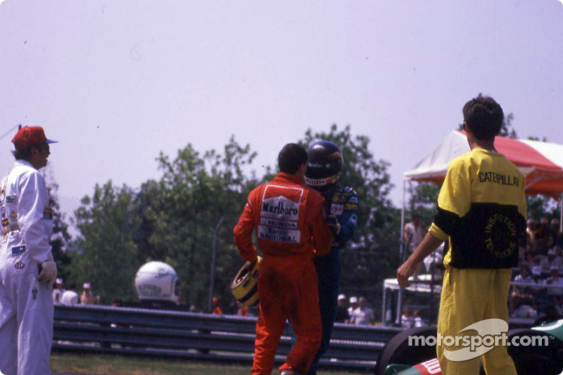 After the race: Ayrton Senna and Thierry Boutsen