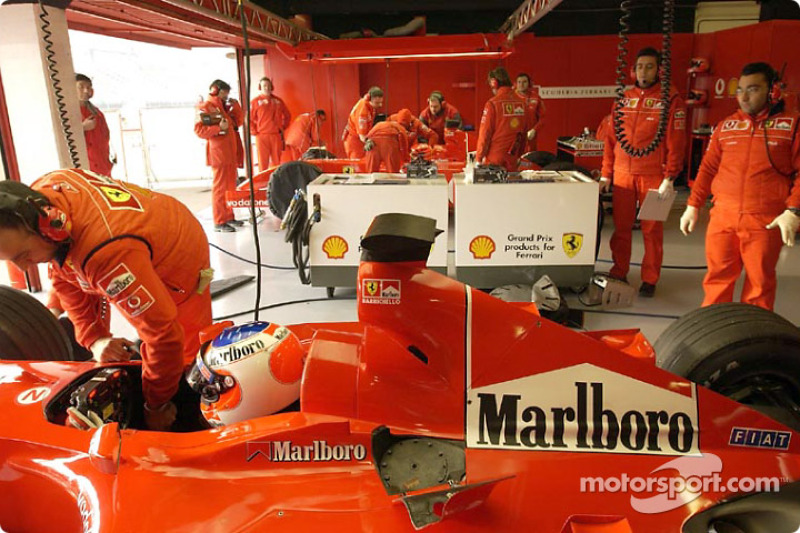 Rubens Barrichello in Ferrari garage