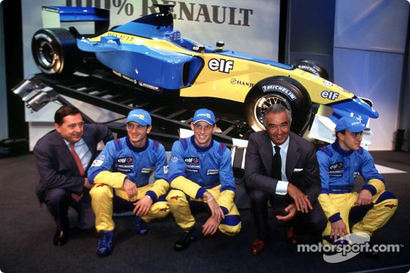 Chief Executive Officer of Renault F1 Patrick Faure, Jarno Trulli, Jenson Button, Flavio Briatore,