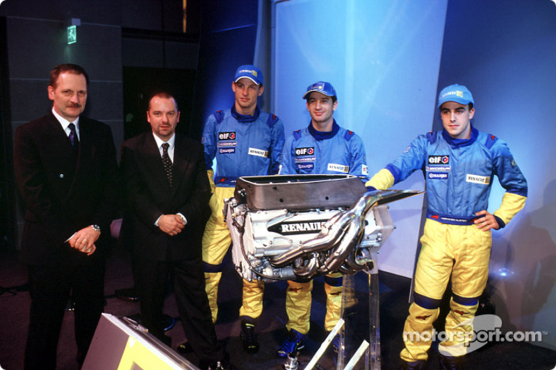 Jean-Jacques His, Mike Gascoyne, Jenson Button, Jarno Trulli and Fernando Alonso
