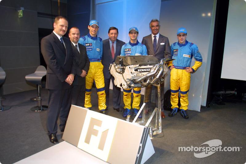 Jean-Jacques His, Mike Gascoyne, Jenson Button, Patrick Faure, Jarno Trulli, Flavio Briatore and Fer
